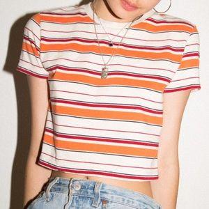 NWOT Brandy Melville orange striped Helen top